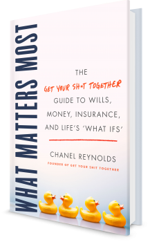 """Book cover image: What Matters Most: The Get Your Shit Together Guide to Wills, Money, Insurance, and Life's """"What-ifs"""""""